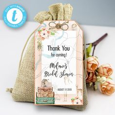 Traveling From Miss to Mrs Thank You Tag, Traveling Bridal Shower,  Adventure Love is a Journey Instant download PRINTABLE DIGITAL DIY Travel Bridal Showers, From Miss To Mrs, Thank You Tags, Party Printables, Birthday Celebration, Party Invitations, Traveling, Digital, Handmade Gifts