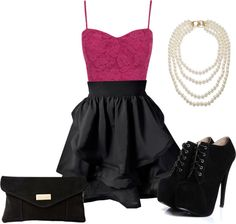"""""""Magenta and Black"""" by bombaloo on Polyvore"""
