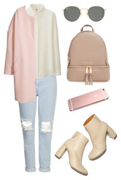 """""""pink"""" by horvat-rea ❤ liked on Polyvore featuring Topshop, Uniqlo, H&M, MICHAEL Michael Kors, STELLA McCARTNEY, Ray-Ban, GetTheLook, ootd and contestentry"""