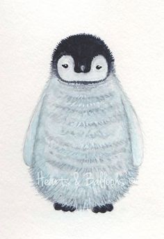 Wildlife art watercolour painting PRINT 5 x 7 Little penguin. $9.00, via Etsy.