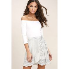 Walk on Air Blue and White Striped Wrap Mini Skirt ($42) ❤ liked on Polyvore featuring skirts, mini skirts, white, wrap mini skirt, tie-dye skirt, mini skirt, ruffled skirts and striped skirts