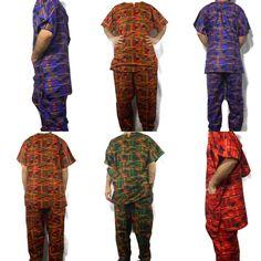 Men's Dashiki Pant Set African Cothing Kente Cotton 3 Pcs Suit w/ Hat Plus Size Dashiki For Men, African Dashiki, Brocade Suits, Dashiki Shirt, African Men, Plus Size, How To Wear, Cotton, Clothes