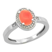 Natural 0.83 ctw Coral & Diamond Engagement Ring 14K White Gold - SC#CW445150 - REF#26H8N