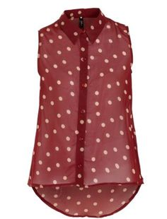 Dip it low... your blouse hem, that is. Sheer red, sleeveless design with cream polka dots by Influence. £16.99  #NewLookFashion