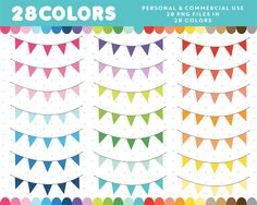 Pennant flags clipart in 28 colors, Pennant Flags, Bunting Banner, Clip Art, Cheap Travel, Digital, Paper, Bujo, Birthday, Doodles