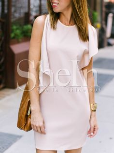 Shop Pink Crew Neck Drapped Side Shift Dress online. SheIn offers Pink Crew Neck Drapped Side Shift Dress & more to fit your fashionable needs.