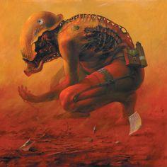 A Polish artist, Dariusz Zawadzki, is self taught. His works are dark fantasy, almost a tribal science fiction of an apocalyptic scenario. Dark Fantasy Art, Dark Art, Art And Illustration, Arte Horror, Horror Art, Bizarre Art, Unusual Art, Art Graphique, Fantastic Art