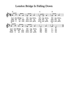 Free Vocal Sheet Music London Bridge Is Falling Down Songs For Toddlers, Rhymes For Kids, Kids Songs, Children Rhymes, Easy Piano Sheet Music, Free Sheet Music, Piano Music, Nursery Songs, Preschool Songs