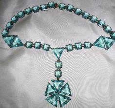 Art Deco Czech Aquamarine Glass Massive Necklace