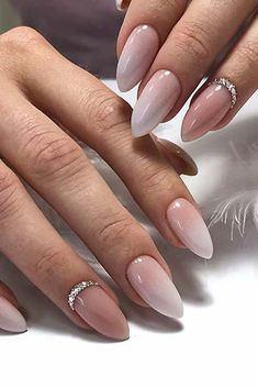 30 Wow Wedding Nail Ideas ❤ nail ideas beige ombre with rhinestones tami_tamichka Are you dreaming about the perfect bridal look? Don't forget to choose cool design for your nails. You will find in our gallery cute wedding nail ideas. Fancy Nails, Pink Nails, Gel Nails, Coffin Nails, Nail Polish, Stylish Nails, Trendy Nails, Winter Wedding Nails, Nail Wedding