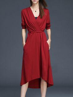 Hot V Neck Patchwork Plain Maxi-dress