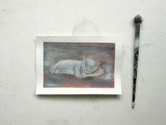 sleeping grey cat portrait original painting pet portrait by vumap