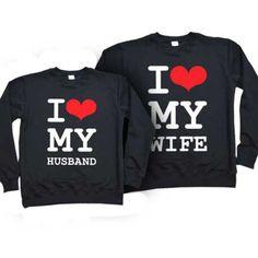 """Парные свитшоты для супружеской пары """"I love my wife, husband"""""""