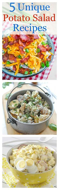 A collection of 5 unique potato salad recipes for your summer get togethers.