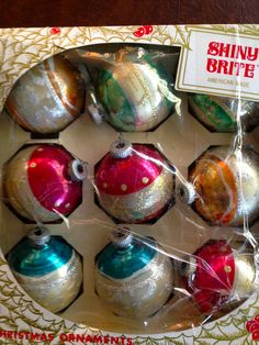 Vintage Christmas Ornaments Glass Balls 9 Shiny Brite 1960's Glitter Made in USA by Melamoon on Etsy