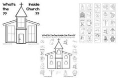 What's Inside the Church? This is 2 activities for children to identify items found inside the church. One is a worksheet for matching and the other is a cute and paste.