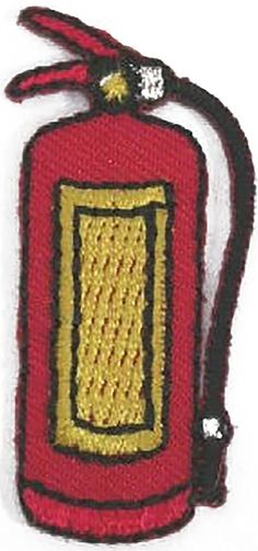"Amazon.com: [Single Count] Custom and Unique (0.8"" x 1.7"" Inch) ""Tools"" Traditional Vibrant Emergency Equipment Fire Extinguisher Design Iron On Embroidered Applique Patch {Red, Yellow & Black Colors}"