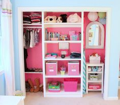 Removing bi-fold doors that never stayed on the track and painting the inside of this closet made it a fun and organized part of a little girl's room.