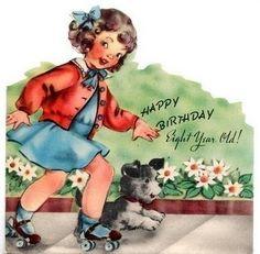 Roller skating girl on vintage 40s birthday card