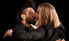 Adele and The Weeknd at The 58th Grammy Awards red carpet...