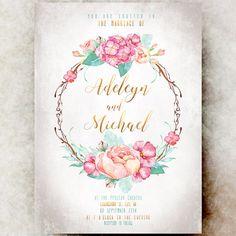 Floral Wedding Invitation printable  elegant by DivineGiveDigital