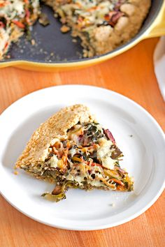 Gluten Free Swiss Chard & Mushroom Galette - tender, flaky crust filled with Swiss Chard, Portobello mushrooms, shredded carrots, white cheddar cheese.#brunchweek