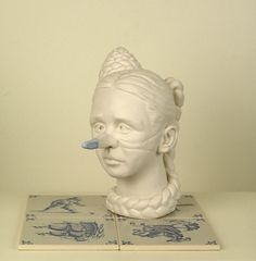 blue - head - woman with big nose - The Delft lie - figurative sculpture - Mariette van der Ven Big Noses, Viera, Delft, Art Forms, Figurative, Art Pieces, Sculptures, Van, Ceramics