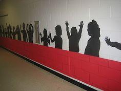 school kids silhouettes