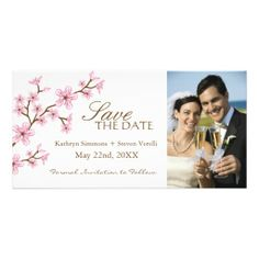 Cherry Blossoms Save The Date Invitation Customized Photo Card