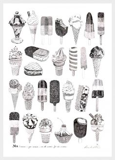 Ice creams by  Ros Shiers. This is a pencil illustration of various ice cream types , which look delicious. She has most likely drawn from observation. I have selected this image because I like ice cream.