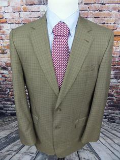 Jos A Bank Blazer 42L Men's  Plaid 2 Button Sport Coat Jacket Wool Silk #JosABank #TwoButton