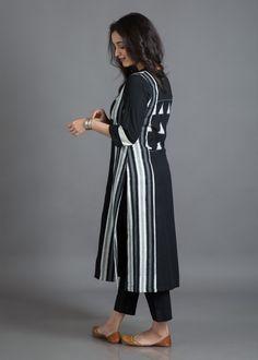Ink Black & Off-White Handwoven Cotton Kurta with Ikat Yoke Indian Designer Suits, Kurta Designs Women, Kurti Collection, Saree Blouse Designs, Churidar, Anarkali, Traditional Outfits, Indian Fashion, Saris