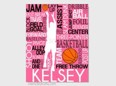 Basketball Typography Print, 8x10 Art, Perfect Sporty Girls Room Art, You Choose the Colors, Makes a Great Gift for any Basketball Lover shown in pink, black and white