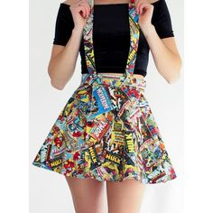 Marvel Suspender Skater Skirt ❤ liked on Polyvore featuring skirts, flared skirt, cotton skater skirt, cotton skirts, circle skirt and skater skirt
