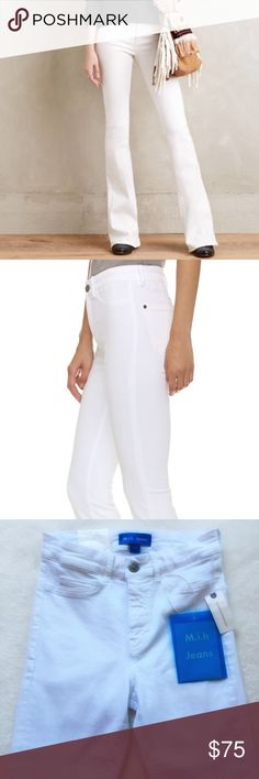 """{Anthropologie} High-Rise Flare Jeans NWT! MiH Jeans for Anthropologie, Bodycon Marrakesh jeans in power white. Constructed in unique power recovery denim but with an authentically original look. High rise. Slim kick flare. Zip fly with button closure. Five-pocket style. 12 1/2"""" flat across waist. 9 1/2"""" front rise. 35"""" inseam. Runs small. 92% cotton 6% polyester 2% elastane. Anthropologie Jeans Flare & Wide Leg"""