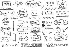 Set of stickers tags labels Hand drawn design vector image on VectorStock Journal Blog, Planner Journal, Journal Design, Journal Ideas, Planner Stickers, Bullet Journal Icons, Bullet Journals, Doodle Box, Speech Balloon