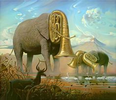 """Great artworks of Russian artist Vladimir Kush. Vladimir Kush, born in Moscow, 1965, is a Russian surrealist painter and sculptor. He prefers to define his art as metaphorical realism rather than surrealism. Each of his painting is fascinating by stunning fantasy stories, game with metamorphic! His work is highly influenced by artist Salvador Dalí. Vladimir states, """"Art school was a world of a new inspiration."""