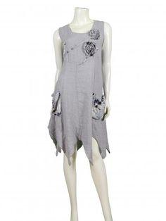 Damen Tunikakleid aus Leinen, grau