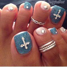 Blue and White with Crosses pedi