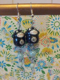 Lucky cats & glass beads earrings.