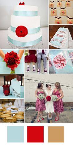 wedding color combination: aqua/light blue and red
