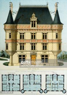 Fine art : New, medieval-style country house, lithograph taken from Parcs et Jardins des environs de Paris by Victor Petit, France, 19th century