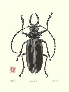 Beetle Linocut Print // Handmade // Original // by InkshedPress