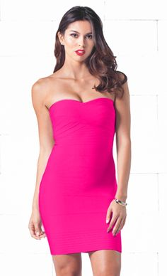 Indie XO After Hours Fuchsia Sweetheart Neck Bandage Style Strapless Body Con Fitted Mini Dress - Just Ours!