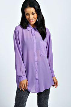 Molly Button Through Oversized Shirt at boohoo.com
