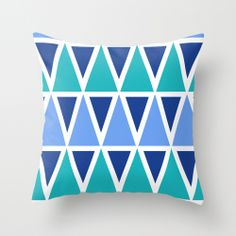 Tribal Pattern - Blue Throw Pillow 16 in x 16 in