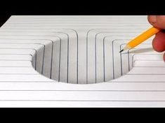 How to Draw a Round Hole in Line Paper Trick Art - YouTube
