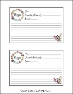 Recipe Card Free Printable | Instant download to use for gifts, bridal showers or personal use.