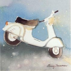 Postcrossing postcard from Finland Vespa, Finland, Watercolour, Stamp, Wall Art, Cool Stuff, Grey, Winter, Illustration