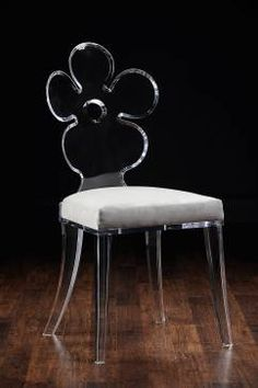 Flower Power Acrylic Chair with Platimum Suede Upholstered Seat Other Fabric Colors and COM Available